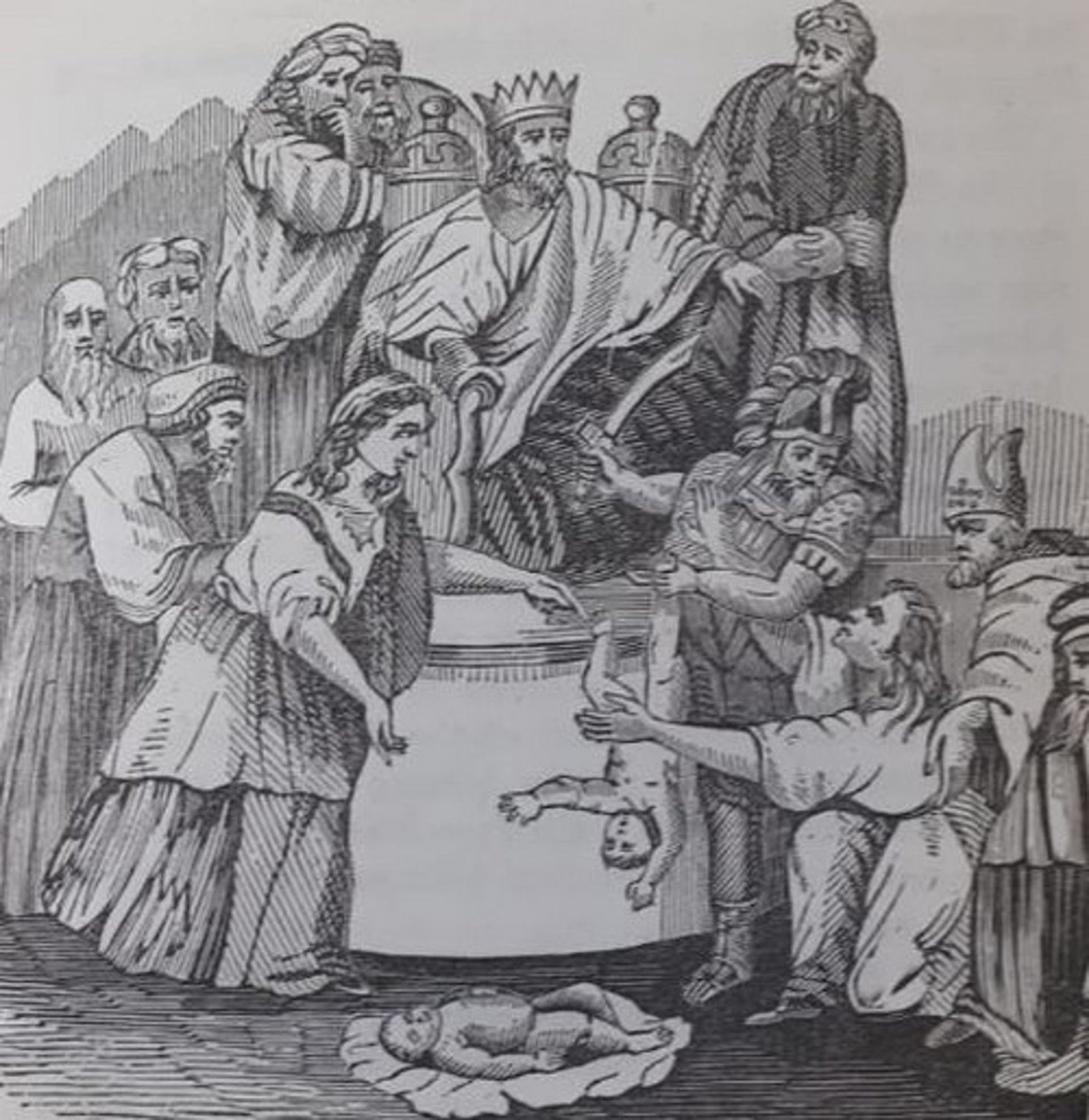 King Solomon's Judgement: Cresson alludes to the righteous King's judgment as choosing between Judaism and Christianity.