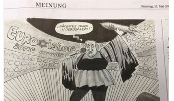 Image of cartoon which German newspaper pulled and apologized for as using anti-Semitic stereotypes