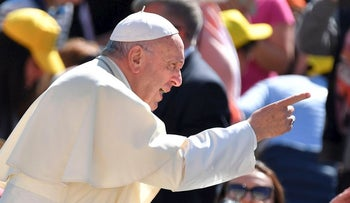 Pope Francis gestures during a weekly general audience at St Peter's square on May 16, 2018 in Vatican