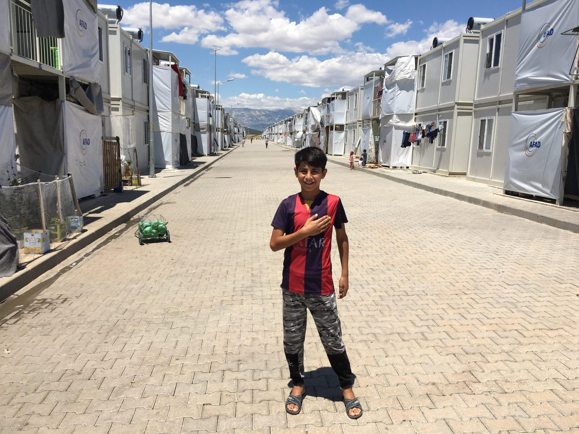 Ahmed, a 15-year-old Syrian refugee from Hama, in the Kahramanmaras refugee camp, southeastern Turkey.