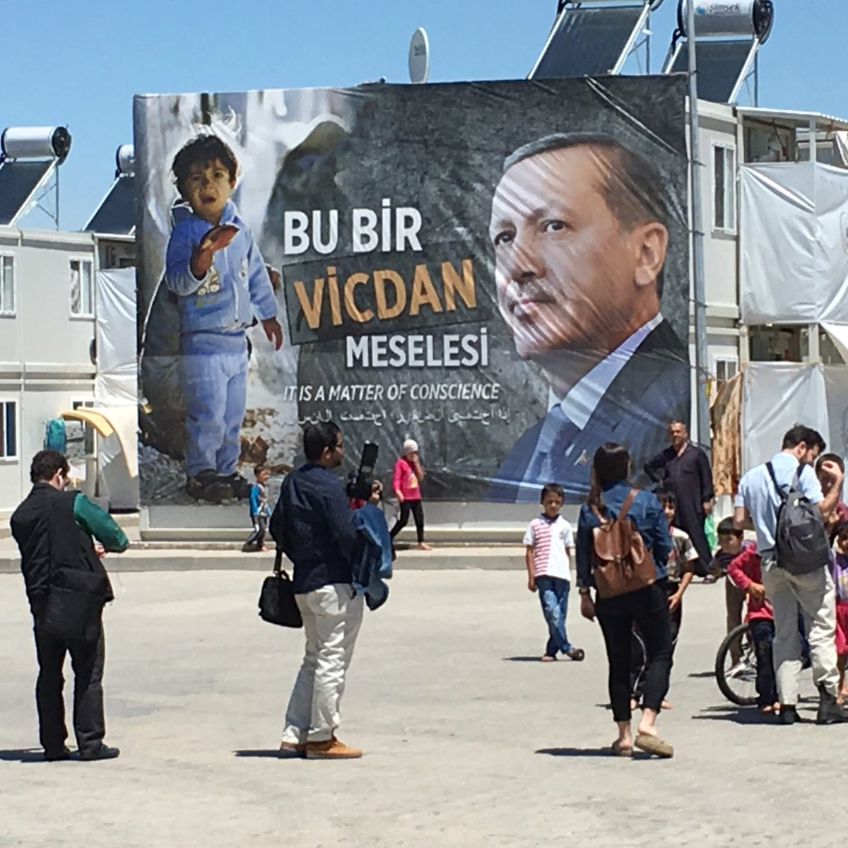 An image of Turkish President Recep Tayyip Erdogan on a poster in the Kahramanmaras refugee camp, southeastern Turkey.
