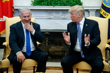 President Donald Trump meets with Israeli Prime Minister Benjamin Netanyahu in the Oval Office of the White House. March 5, 2018