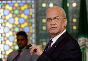 Palestinian negotiator, Saeb Erekat, speaks during a press conference in Cairo, Egypt,August  11, 2014.
