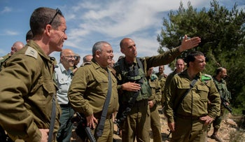 The chief of staff of the Israel Defense Forces, Gadi Eisenkot, center left, in the West Bank, May 16, 2018.