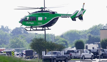A Life Flight helicopter takes off from Santa Fe High School where a shooting took place on May 18, 2018 in Santa Fe, Texas