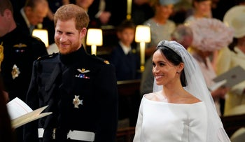 Britain's Prince Harry and Meghan Markle, during their wedding ceremony at St. George's Chapel in Windsor Castle in Windsor, near London, England on May 19, 2018.
