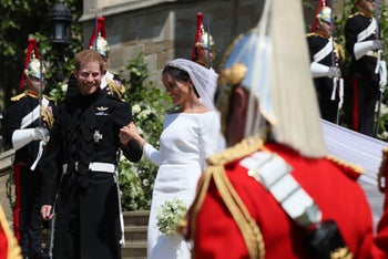 Harry and his wife Meghan in Windsor after their wedding ceremony, May 19, 2018.
