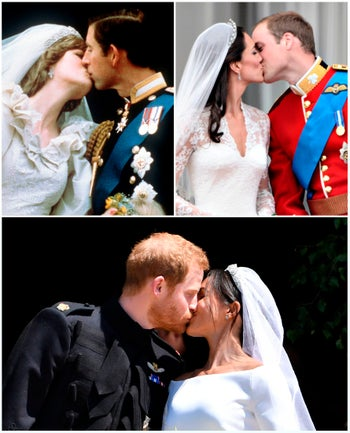 Prince Charles kissing Diana, Prince William kissing Catherine and Prince Harry Meghan.