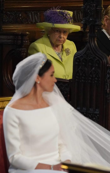 Queen Elizabeth II at the wedding ceremony of Prince Harry and Meghan Markle, May 19, 2018.