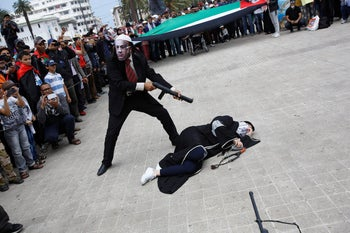 Pro-Palestinian protesters in a protest in Casablanca, May 2018.