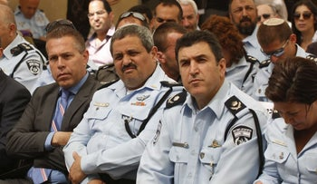 Public Security Minister Gilad Erdan, left, Police Commissioner Roni Alsheich and his deputy, Yoram Halevy, 2017.