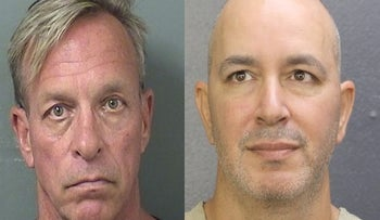 Sahar Sarid (R) and Thomas Keese's mugshots. The two were arrested over Mugshot.com – a website that uploads your mugshot and asks for money to take it down