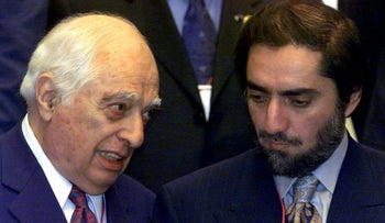Princeton University Near Eastern Studies Prof. Bernard Lewis, left, chatting with then-Interim Afganistan Foreign Minister Abdoullah Abdoullah in February 2002. Lewis' death