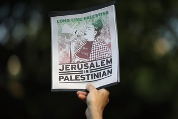 Supporters of Palestinian rights protest in Dupont Circle, Washington, DC. May 15, 2018