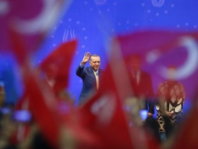 Turkish President Recep Tayyip Erdogan greeting supporters during his pre-election rally in Sarajevo, Bosnia-Herzegovina, May 20, 2018.