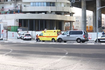 The Tel Aviv site where the construction worker died, May 21, 2018.