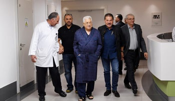 Palestinian President Mahmoud Abbas walks inside the hospital in Ramallah, in the occupied West Bank May 21, 2018. Palestinian President Office (PPO)/Handout via REUTERS ATTENTION EDITORS - THIS PICTURE WAS PROVIDED BY A THIRD PARTY. NO RESALES. NO ARCHIVE