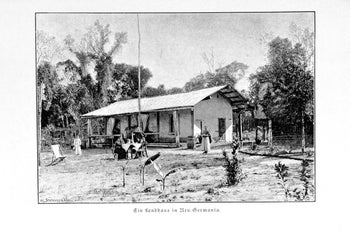An 1891 image of  a house in Nueva Germania, an Aryan community set up in Paraguay by German teacher Bernhard Forster and his wife, Elisabeth Forster-Nietzsche (sister of the German philosopher
