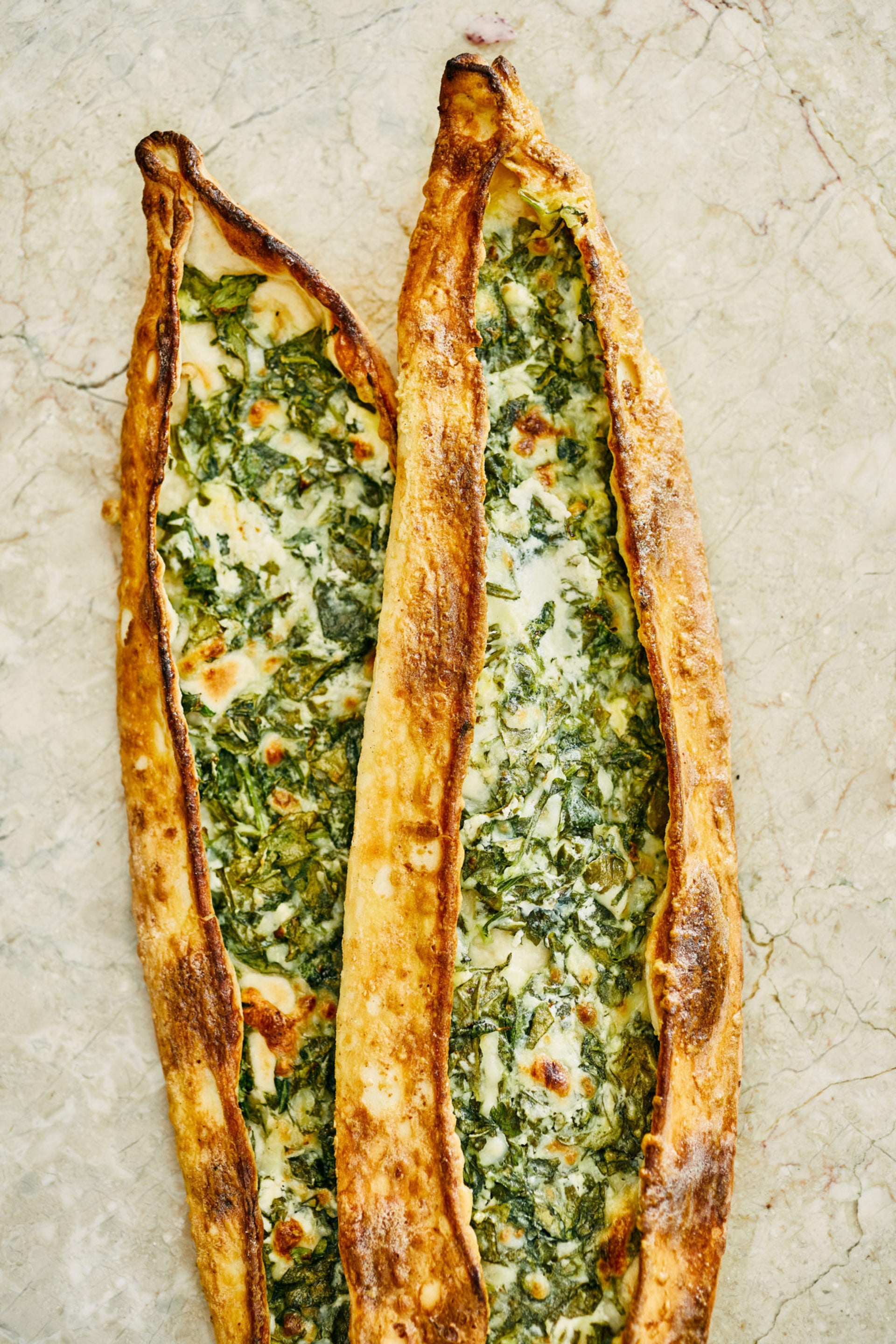 Cheese and spinach pide.