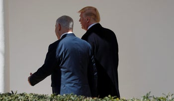U.S. President Donald Trump and Israel Prime Minister Benjamin Netanyahu walking to the Oval Office of the White House in Washington, March 5, 2018.