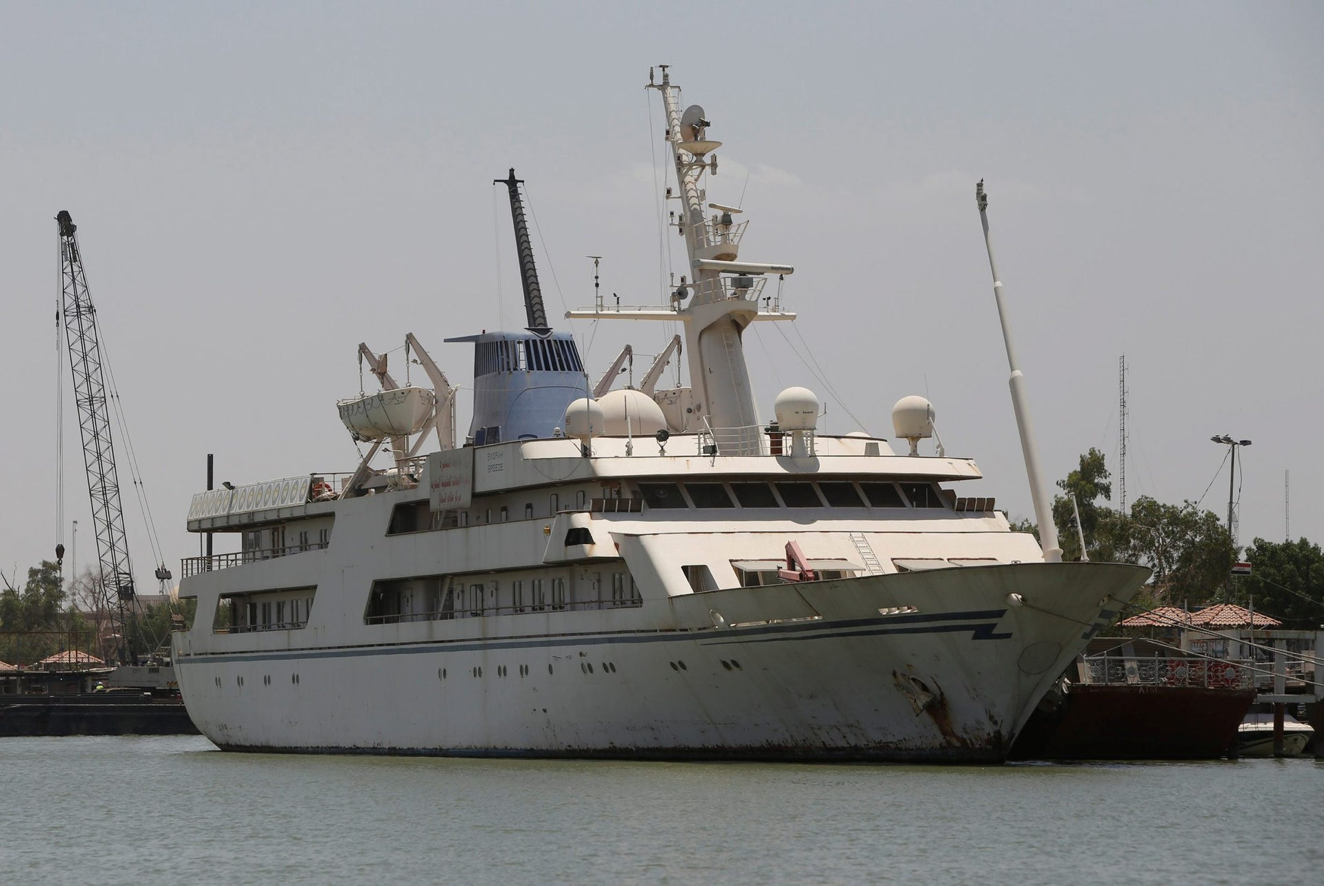 """Yacht called """"Basrah Breeze"""", once owned by former Iraqi president Saddam Hussein, who was toppled in a U.S.-led invasion in 2003, is seen in the southern port of Basra, Iraq May 14, 2018."""