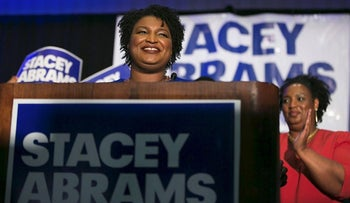 Georgia Democratic Gubernatorial candidate Stacey Abrams takes the stage to declare victory in the primary during an election night event on May 22, 2018 in Atlanta, Georgia