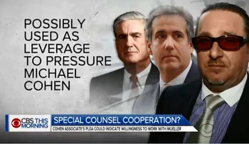 Image from CBS News Twitter's feed reporting on Evgeny Freidman's connection to Michael Cohen and the Trump-Russia probe