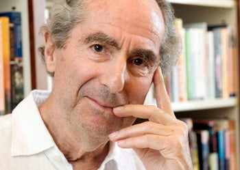 Author Philip Roth posing for a photo in the offices of his publisher Houghton Mifflin, in New York, September 8, 2008.