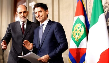 Newly appointed Italy Prime Minister Giuseppe Conte arrives to speaks with media at the Quirinal Palace in Rome, Italy, May 23, 2018.