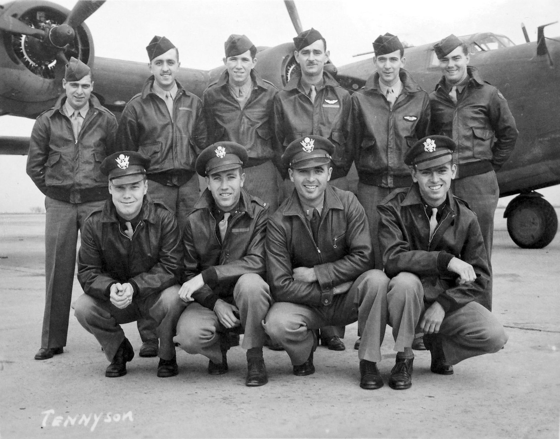 This circa 1943 U.S. Army Air Force photo shows Lt. Tom Kelly, lower right, and other crew members of the B-24 bomber training in the U.S. during World War II.