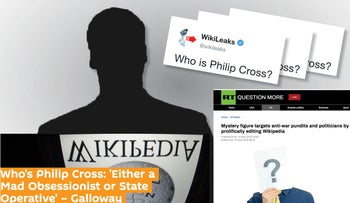 A collage of tweets and articles appearing in Russian media questioning the identity of Wikipedia editor Philip Cross.