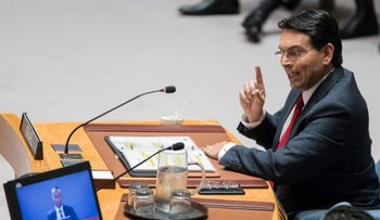 Israel's ambassador to the United Nations Danny Danon speaks during a Security Council meeting on the situation in Gaza, Tuesday, May 15, 2018 at United Nations headquarters.