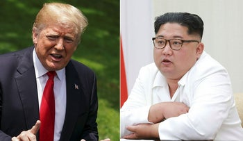 This combination of pictures created on May 24, 2018 shows US President Donald Trump speaking to the media as he makes his way to board Marine One at the White House on May 23, 2018 in Washington, DC, and an undated picture released from North Korea's official Korean Central News Agency (KCNA) on May 18, 2018 of North Korean leader Kim Jong-Un