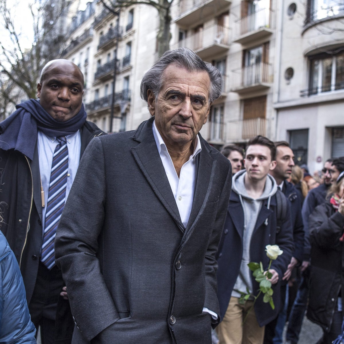 Bernard-Henri Lévy during the solidarity parade in Paris in honor of Mireille Knoll, following the brutal murder of the Holocaust survivor in March by a Muslim youth.