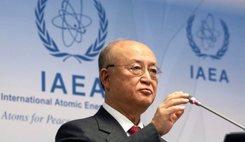 Director General of the International Atomic Energy Agency, IAEA, Yukiya Amano of Japan, addresses the media during a news conference after a meeting of the IAEA board of governors at the International Center in Vienna, Austria, Monday, March 5, 2018.