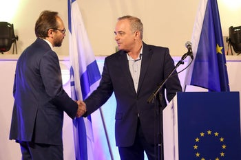 Energy Minister Yuval Steinitz with EU Ambassador to Israel Emanuele Giaufret during Europe Day, May 9, 2018.