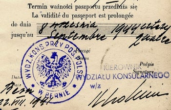 A fake document issued by the Polish Embassy in Switzerland during World War II