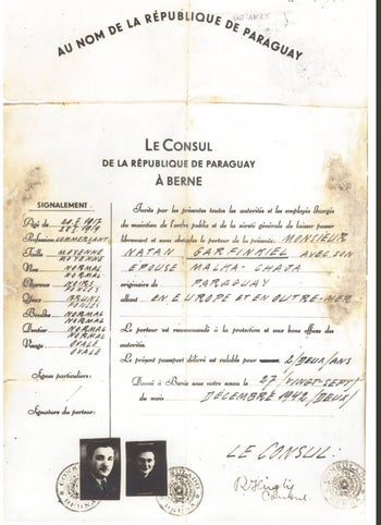 A fake document intended for Nathan Garfinkel, a Polish Jew