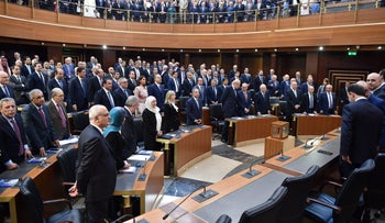 Member of parliaments attend a parliament session as Lebanon's newly elected parliament convenes for the first time to elect a speaker and deputy speaker in Beirut, Lebanon May 23, 2018.