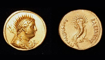A gold coin, depicting King Ptolemy III, who ruled Egypt in the 3rd century B.C. and was an ancestor of the famed Cleopatra, that was found in the San El-Hagar archaeological site in Gharbia province, north of Cairo, Egypt. Egyptian archeologists said they discovered parts of a huge red brick building dating back to the Greco-Roman period and have unearthed other artifacts in the area, including pottery vessels, terracotta statues, bronze tools and a small statue of a ram.