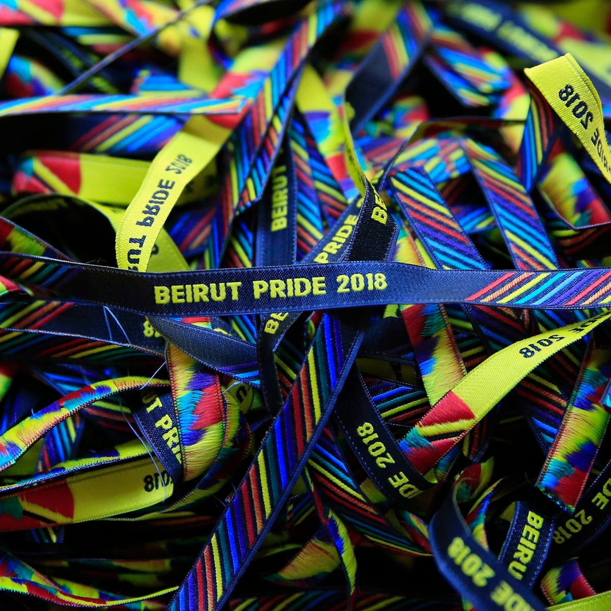 In this picture taken Saturday, May 12, 2018, bracelets decorated with the rainbow colors are displayed at a restaurant during the launch event of Beirut Pride week in Beirut, Lebanon.  Lebanonג€™s relative tolerance emerges in part from its sectarian and ethnic diversity. Despite tensions, no one group is strong enough to impose its will, and people are forced to recognize others to a degree. That has opened up a greater freedom of press, expression and activism than elsewhere in the region.