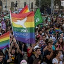 People participating in Jerusalem's gay pride parade in 2017.