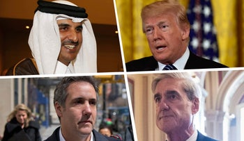 Clockwise from top left: Emir of Qatar Sheikh Tamim bin Hamad al-Thani, U.S. President Donald Trump, Special Counsel Robert Mueller, and Attorney Michael Cohen.
