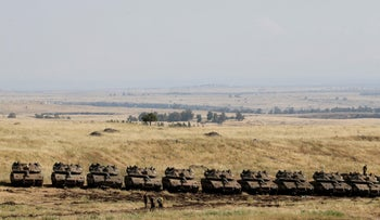 Israeli tanks on the border with Syria, this month