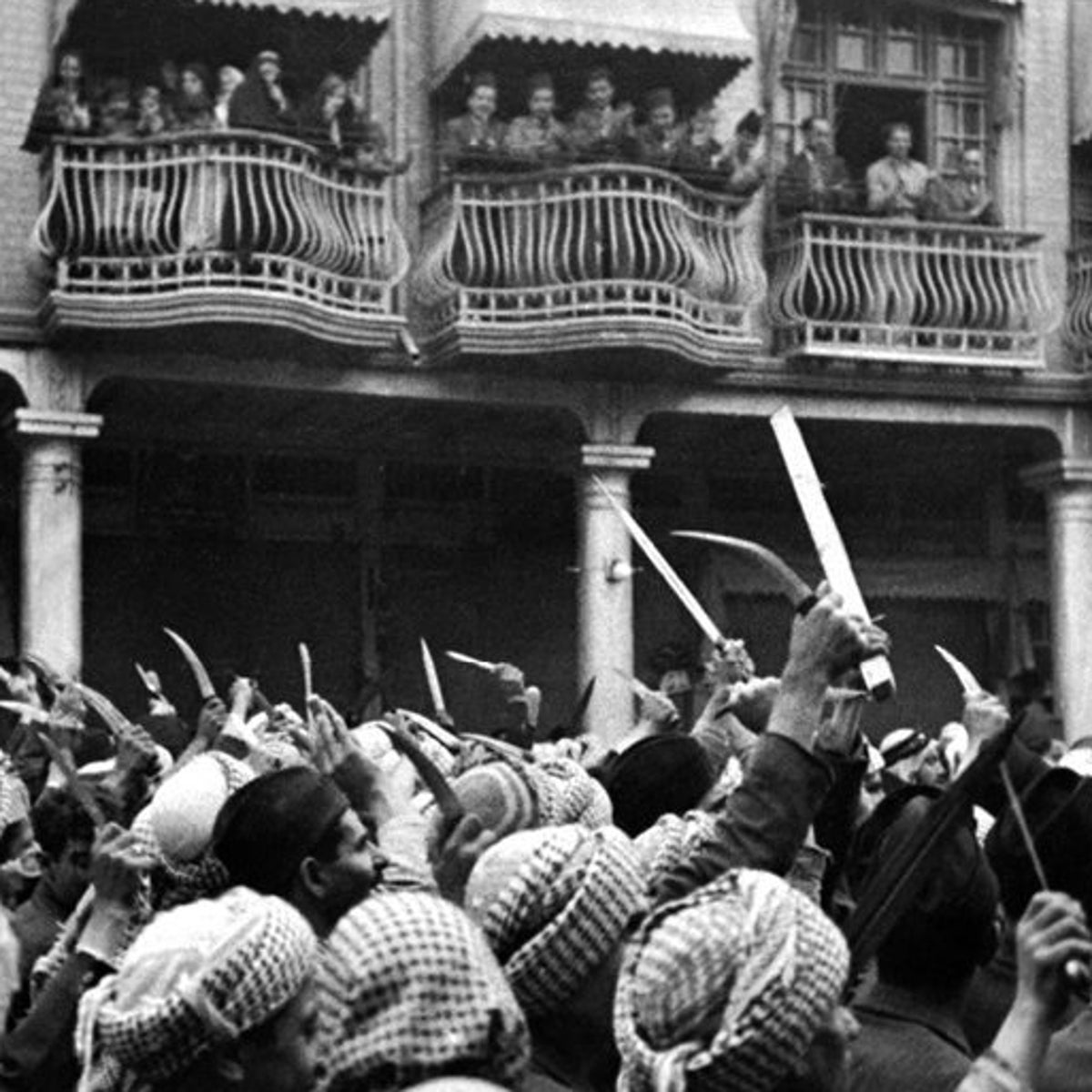 "Rioting in the streets of Baghdad, Iraq, circa 1930, from the 2016 documentary ""Remember Baghdad."""