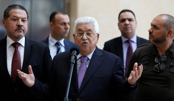 Palestinian President Mahmoud Abbas talks to media after leaving hospital, in Ramallah in the occupied West Bank May 28, 2018.