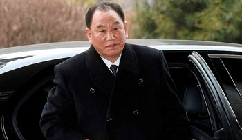 Kim Yong Chol gets off a car at the Korea-transit office to return to North Korea, in Paju, February 27, 2018.