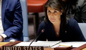 United States Ambassador to the United Nations Nikki Haley speaks at a Security Council meeting at United Nations headquarters, Thursday, April 19, 2018