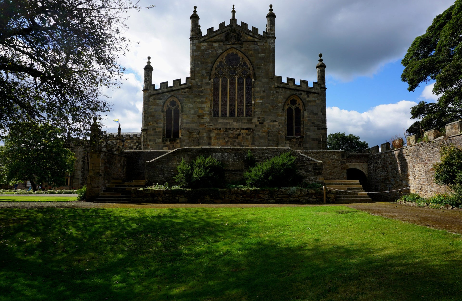 Bishop Auckland, Auckland Castle, the main facade of the small chapel church that is part of the complex, County Durham, England.