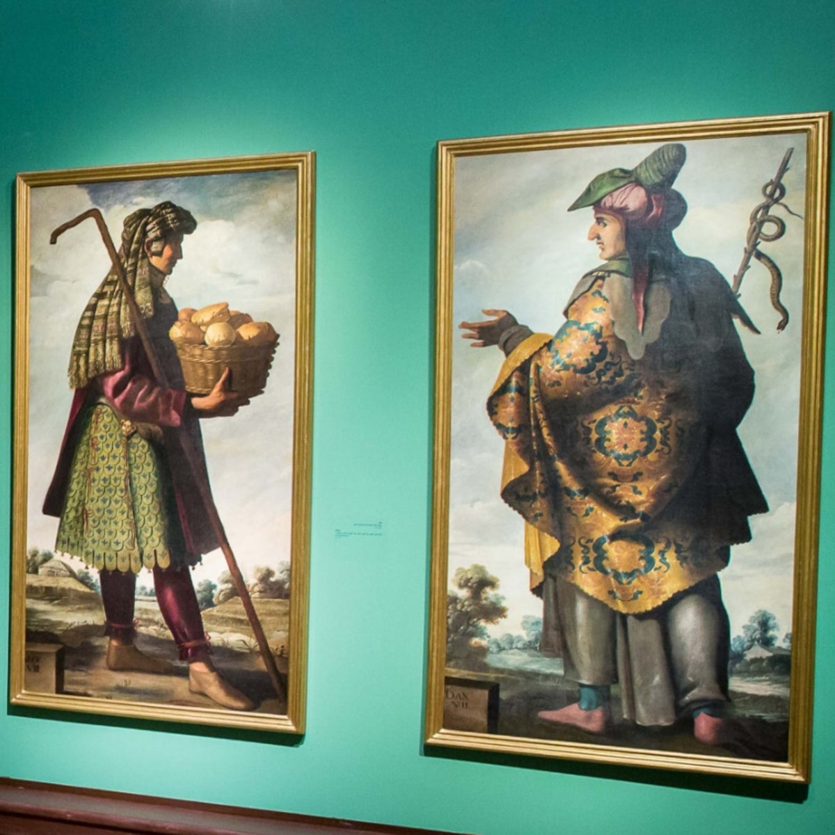 """Paintings by artist Francisco de Zurbaran on display at the exhibition """"Jacob and His Twelve Sons,"""" in Jerusalem's Israel Museum."""